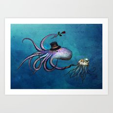 Underwater Love // octopus jellyfish Art Print