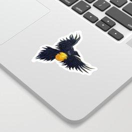 Crow Grabbing Sphere Sticker