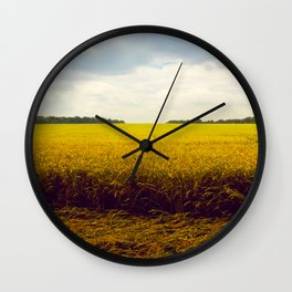 Prairie Landscape Bright Yellow Wheat Field Wall Clock