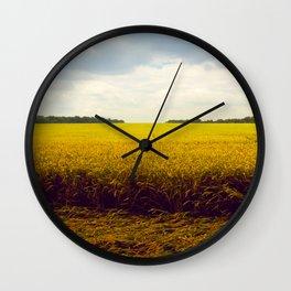 Prairie Landscape Bright Yellow Wheat Field Wall Clock