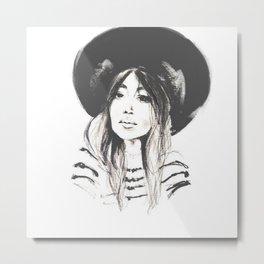 Black Hat Illustration Metal Print