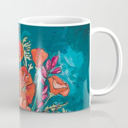 California Poppy and Wildflower Bouquet on Emerald with Tigers Still Life Painting Coffee Mug