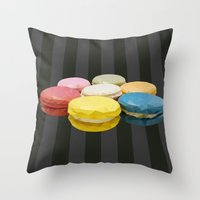 macaroon Throw Pillows featuring geometric macaroon sweet by artsimo
