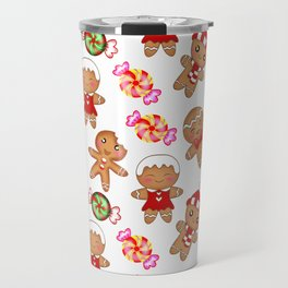 Cute pretty seamless pattern. Happy gingerbread men and sweet xmas caramel chocolate candy. Xmas. Travel Mug