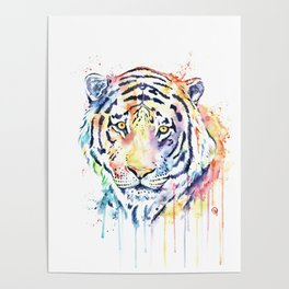 Tiger - Rainbow Tiger - Colorful Watercolor Painting Poster