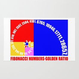 Fibonacci Numbers Typography,  Golden Ratio Rug