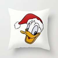 donald duck Throw Pillows featuring Christmas Donald Duck by Yuliya L