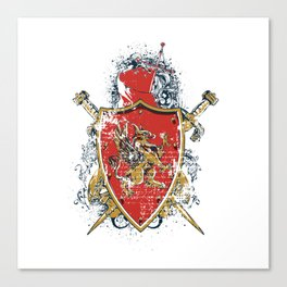 Griffin Shield - Swords - Coat of Arms Canvas Print