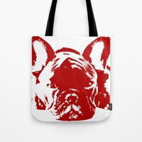 frenchie Tote Bags featuring Frenchie by Red Eyes Apparel