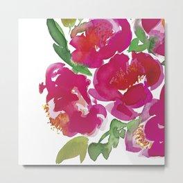pink peony bouquet of flowers watercolor Metal Print