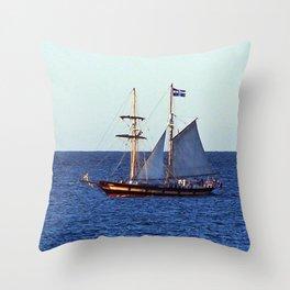 Quebec Sailboat Throw Pillow