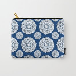 Silver and Navy Mandalas Carry-All Pouch