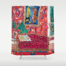 Red Interior with Lion and Tiger after Matisse Shower Curtain