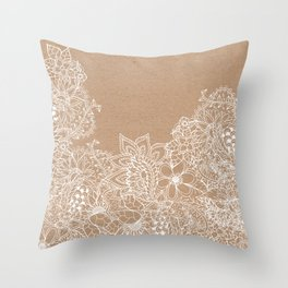 Modern white hand drawn floral illustration on rustic beige faux kraft color block Throw Pillow