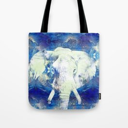 Blue marble water White Elephant Digital art Tote Bag