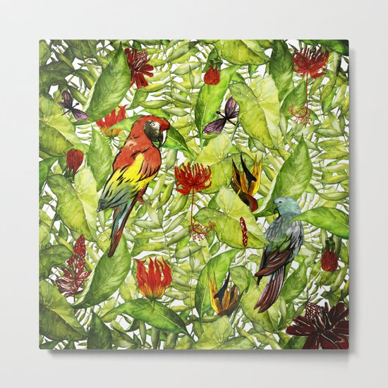 My tropical Summer Flowers and Birds Garden- Jungle Pattern on #Society6 Metal Print