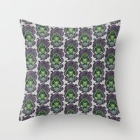 cthulu Throw Pillows featuring Cthulhu by AvisNoctem