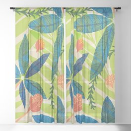 Tropical Star Flowers With Berries Sheer Curtain