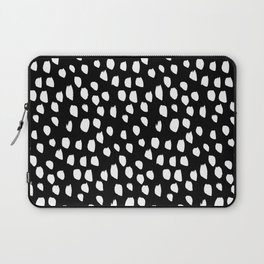Handdrawn drops and dots on black - Mix & Match with Simplicty of life Laptop Sleeve