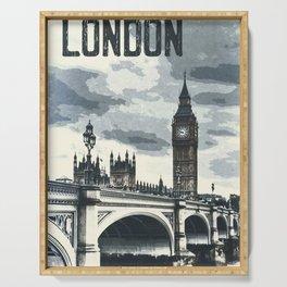 London, Westminster, Big Ben / Vintage style poster Serving Tray
