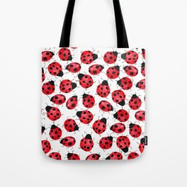 Watercolor Lady Bugs - Red Black Watercolor Insects Tote Bag