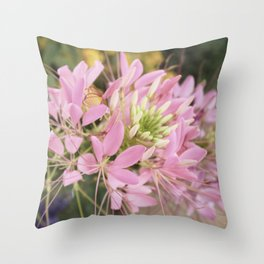 Pink Abstract Unique Flowers Throw Pillow