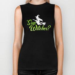 Funny Happy Halloween 'Sup Witches Sassy Humor Biker Tank