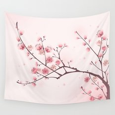 Oriental style painting, cherry blossom in spring Wall Tapestry