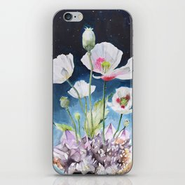 Papaver Somniferum and Amethyst Crystal on a Stary Night at Dawn iPhone Skin