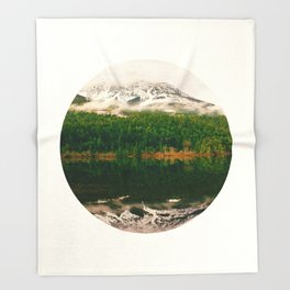 Mid Century Modern Round Circle Photo Graphic Design Reflective Snow Mountain Green Forest Throw Blanket