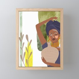 Set of abstract vertical illustrations with african woman in turban, ceramic vase and jugs, plants,  Framed Mini Art Print
