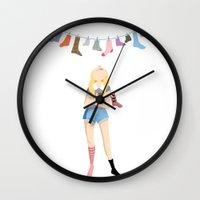 orphan black Wall Clocks featuring Orphan Sock by tarolime
