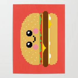 Happy Pixel Hamburger Poster