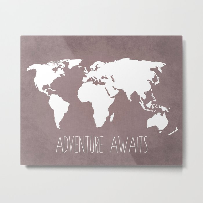 Adventure Awaits World Map Metal Print