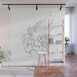 Howling Wolf Tribal Tan Gray White Wall Mural
