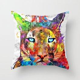 Puma Watercolor Grunge Throw Pillow