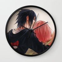 sasuke Wall Clocks featuring Chu by ilaBarattolo