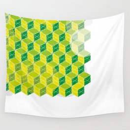 Green Isometric Pattern Wall Tapestry