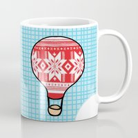 hot air balloons Mugs featuring Cozy Hot Air Balloons by The Wellington Boot