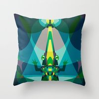 crocodile Throw Pillows featuring Crocodile by youareconstance