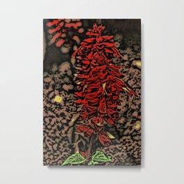 Red Flower Woodcut Metal Print