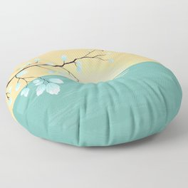 Delicate Asian Inspired Image of Pastel Sky and Lake with Silver Leaves on Branch Floor Pillow