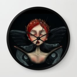unseelie court Faerie queen death moth gothic background red hair and laurel crown in gold Wall Clock