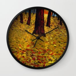 Trunks trees in sunrise Wall Clock