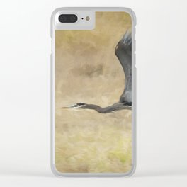 Heron Flying Abstract Clear iPhone Case