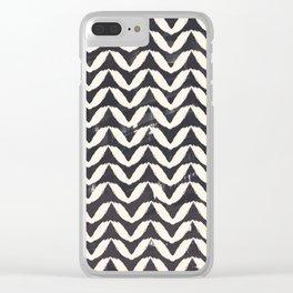 Herringbone-Navy Clear iPhone Case