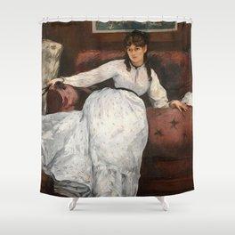 The Rest, portrait of Berthe Morisot by Edouard Manet Shower Curtain
