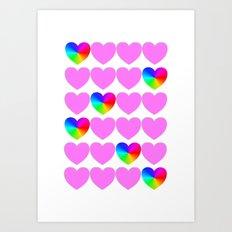 Hearts, hearts, hearts Art Print
