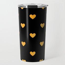 Glitter Gold Heart Pattern on Black Silk Background Travel Mug