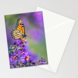 Monarch butterfly on aster purple flowers Stationery Cards